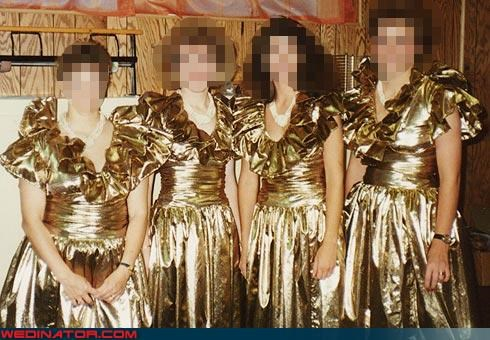 80s bridesmaids,fashion is my passion,funny bridesmaids pictures,funny wedding photos,metallic bridesmaids dresses,terrible bridesmaids dresses,ugly bridesmaids dresses,wedding party,wtf is this
