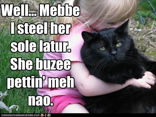 Well... Mebbe I steel her sole latur.  She buzee pettin' meh nao.