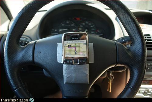 duct tape,gps,phone,steering wheel