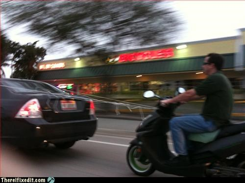 Mission Improbable,motorcycle,tied together,towing