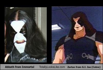 Abbath from Immortal Totally Looks Like Zartan from G.I. Joe (Cobra)