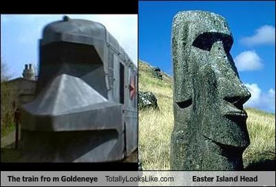 The train fro m Goldeneye Totally Looks Like Easter Island Head