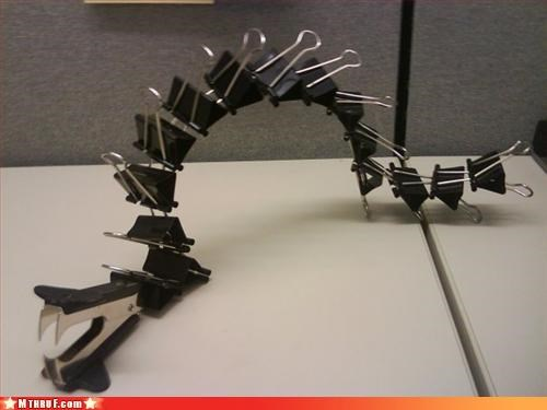art,clever,clips,creativity in the workplace,cubicle boredom,sculpture,snake,work smarter not harder
