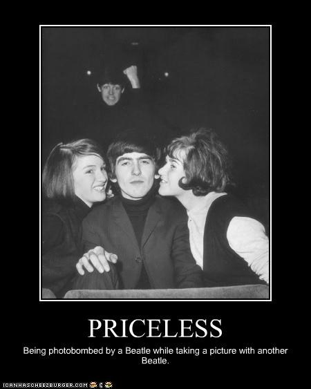 fans,george harrison,paul mccartney,photobomb,the Beatles
