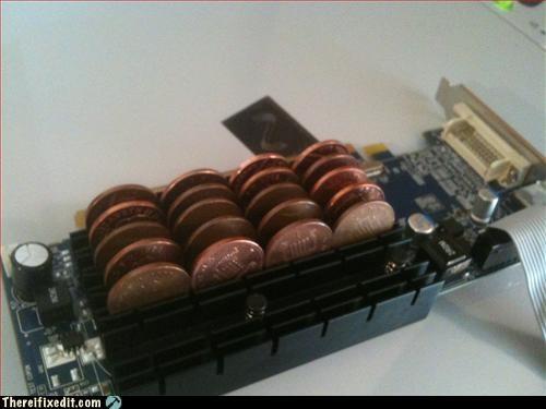 computer,heat sync,mod,pennies