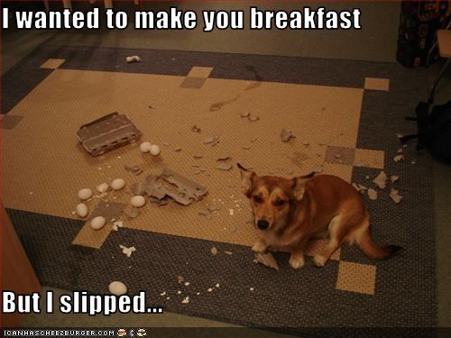 I wanted to make you breakfast  But I slipped...