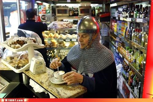 armor,chainmail,clever,coffee,heroes,ingenuity,liquor store,polite knight,weirdo