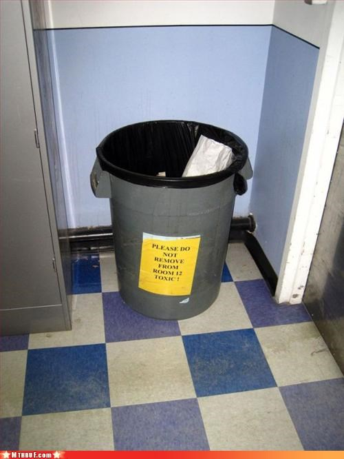 basic instructions,cubicle fail,gross,official sign,osha,poison,signage,toxic,trash can,youre-gonna-die