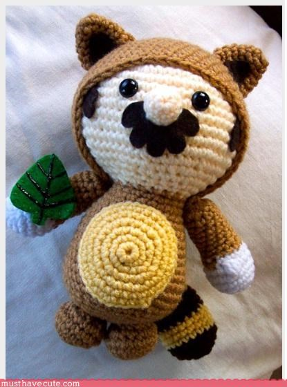 hand made,Knitted,mario,Plushie,racoon