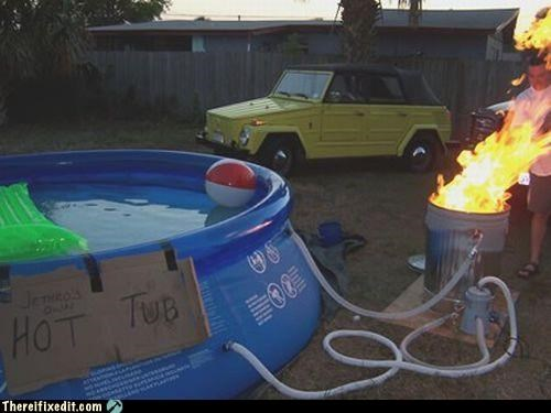 bad idea,fire hazard,Hall of Fame,hot tub,pool