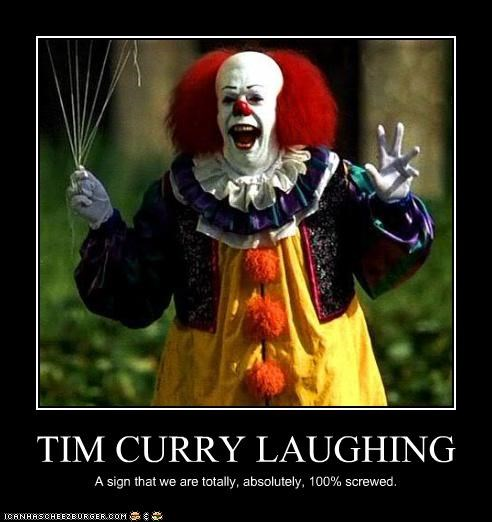 it,laugh,pennywise the clown,stephen king,tim curry