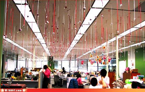 creativity in the workplace,cubicle boredom,cubicle fail,dying lonely and alone,fly infestation,fly paper,gross,holiday bullshit,holiday terror,pest control,reminder of your lonliness,stupid decorations,Valentines day,when did someone last touch your bathing suit area