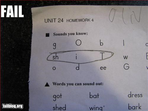 First Grade Homework Fail