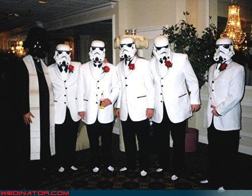 darth vader,fashion is my passion,groom,mos eisley,star wars,stormtrooper,wedding party,Wedding Themes,White Tuxedo
