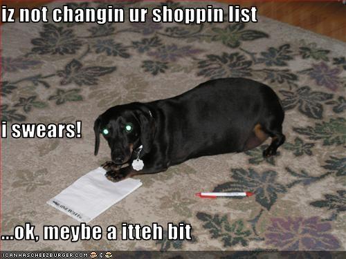 dachshund,food,groceries,list,nom,shopping