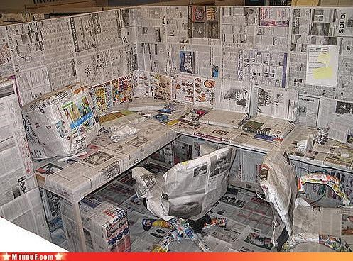 awesome,boredom,creativity in the workplace,cubicle boredom,cubicle prank,dickhead co-workers,dickheads,looks like a damn hamster cage now,newspaper,prank,pwned,rage,sass,sneaky,wiseass,wrapping