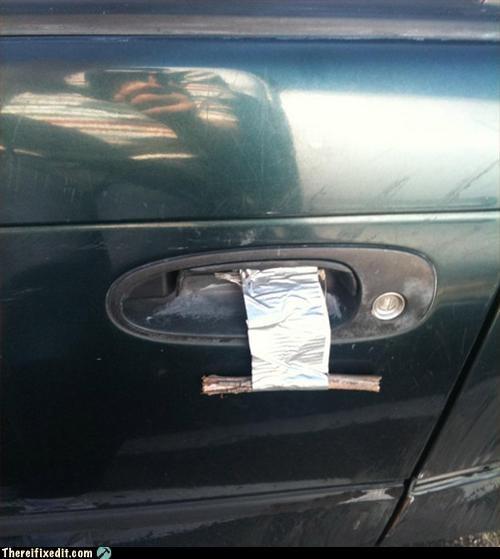 car,door handle,duct tape,mod,stick