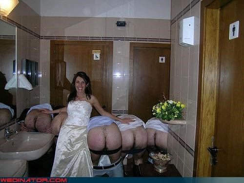 blue moon,bride,Crazy Brides,crazy groom,eww,fashion is my passion,funny wedding photos,hairy butts,honeymoon,miscellaneous-oops,mooning groomsmen,mooning the camera,surprise,wedding party,wtf