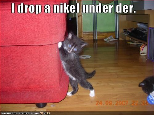 I drop a nikel under der.