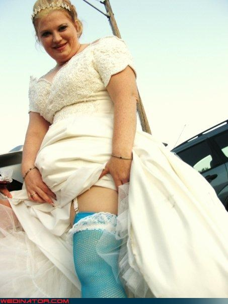 bride,Crazy Brides,eww,fashion is my passion,funny bride picture,funny wedding photos,neon blue fishnets,sexy bride,something blue,something blue fishnets,surprise,ugh,unsexy bride,wtf,yikes