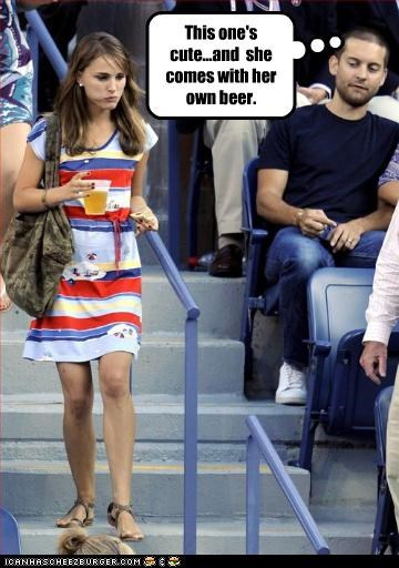 This one's cute...and  she comes with her own beer.