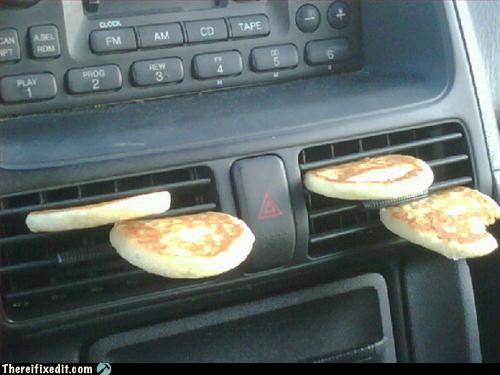 breakfast,car,heater,Mission Improbable,on the go,pancake