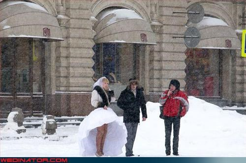 Crazy Brides,fashion is my passion,groom,miscellaneous-oops,put some pants on,snowstorm,surprise,technical difficulties,upskirt,winter wedding,woops