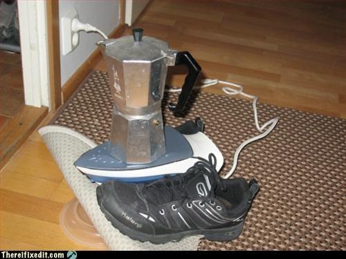 coffee,desperation,fire hazard,iron,Mission Improbable,shoe