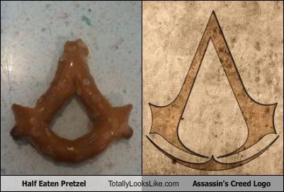 Half Eaten Pretzel Totally Looks Like Assassin's Creed Logo
