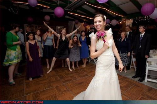 all the single ladies,bouquet,bouquet toss,bride,competitive spirit,fashion is my passion,surprise,technical difficulties,wedding party