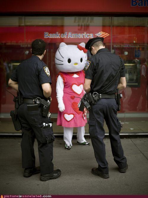 cops,costume,crime scene,hello kitty,wtf
