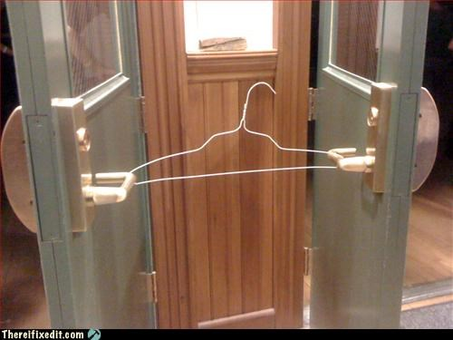 door,Hall of Fame,how polite,propped open,recycling-is-good-right,thank you,wire hanger
