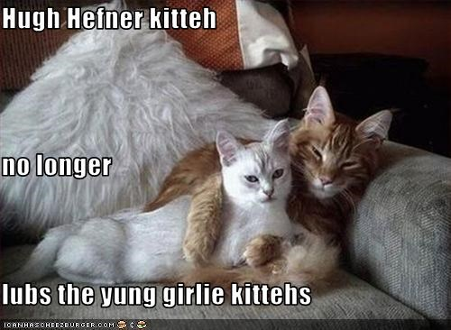 Hugh Hefner kitteh no longer lubs the yung girlie kittehs