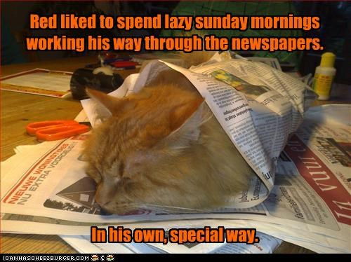 Red liked to spend lazy sunday mornings working his way through the newspapers.         In his own, special way.