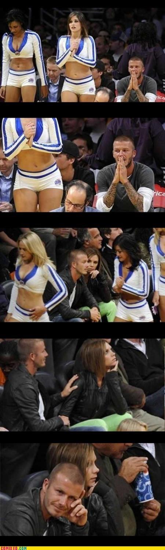 babes,celebutard,cheerleaders,David Beckham,dealing e with a beckham hair cut,getting caught,Posh Spice