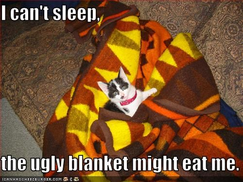 I can't sleep,  the ugly blanket might eat me.
