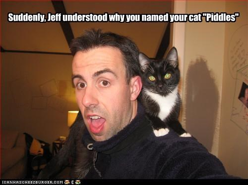 "Suddenly, Jeff understood why you named your cat ""Piddles"""