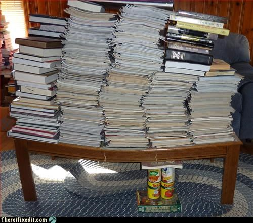 books,canned food,coffee table,propped up