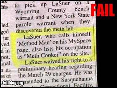 cook,g rated,job,meth,newspaper,occupation,Police Blotter