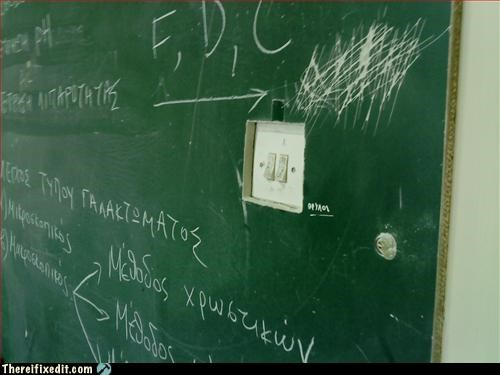 afterthought,chalboard,light switch,Mission Improbable,school
