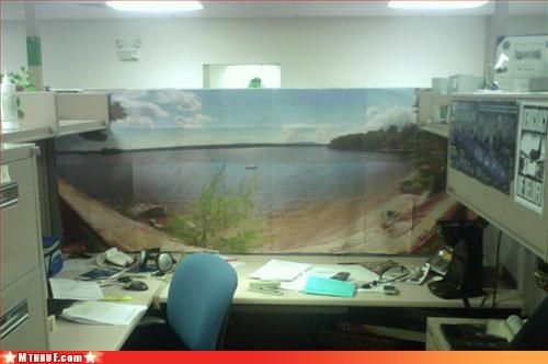 art,beach,creativity in the workplace,cubicle,cubicle fail,decor,decoration,decoy,depressing,kill yourself,panorama,Sad,sand,wrapping