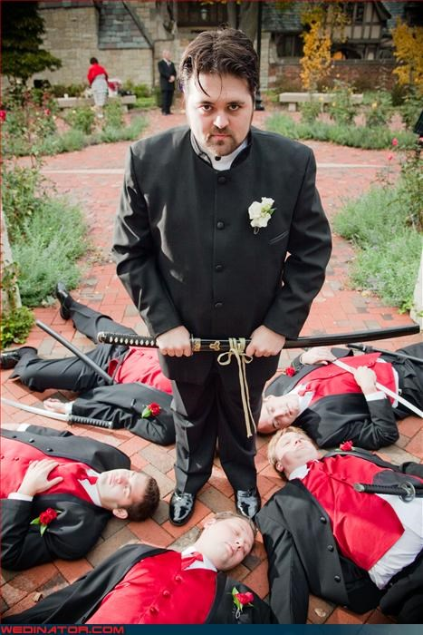 crazy groom,fashion is my passion,fight to the death,Groomsmen,intense,red vest,samurai,surprise,sword,wedding party,Wedding Themes