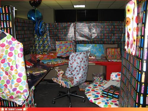 awesome co-workers not,boredom,boring,carbon footprint,cubicle boredom,cubicle prank,decoration,dickhead co-workers,mess,prank,pwned,rage,screw you,sneaky,somebody hates you,unoriginal,wasteful,wiseass,wrapping,wrapping paper