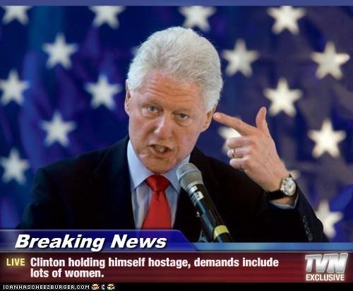 bill clinton,finger gun,hostage,sex,women
