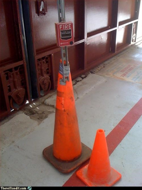 alarm,duct tape,fire safety,orange cone