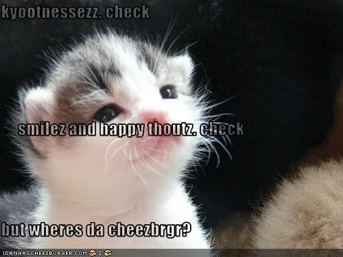 kyootnessezz. check       smilez and happy thoutz. check but wheres da cheezbrgr?