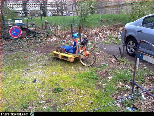 bicycle,big wheel,frankenstein,wooden plank