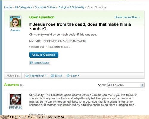 christianity,easter,Hall of Fame,jesus,Yahoo Answer Fails,zombie