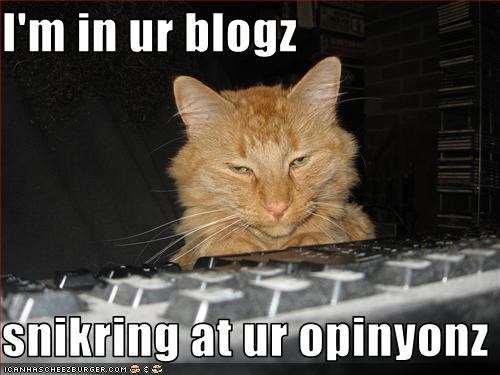 I'm in ur blogz  snikring at ur opinyonz