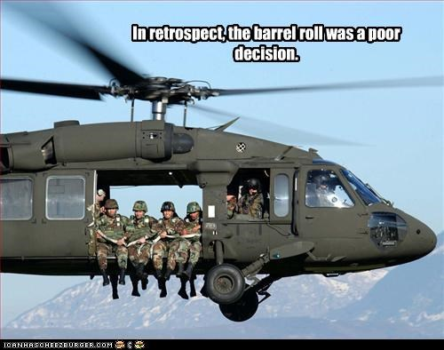 barrel roll,falling,helicopter,soldiers